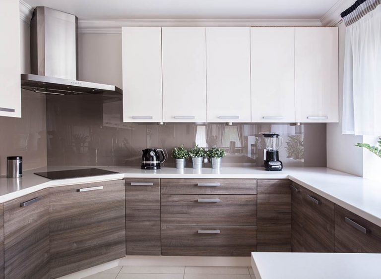 Property Improve Edinburgh kitchen with white gloss fixtures and wooden finishes