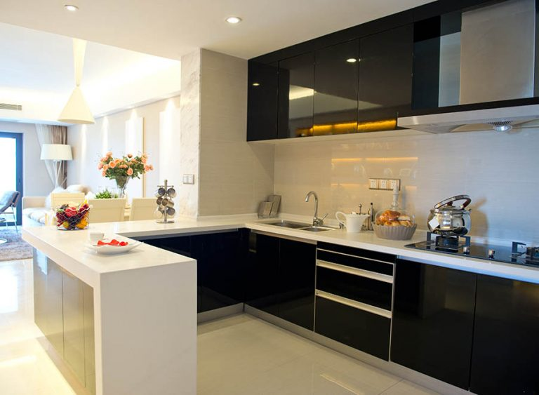 New, modern kitchen with black and white finishes