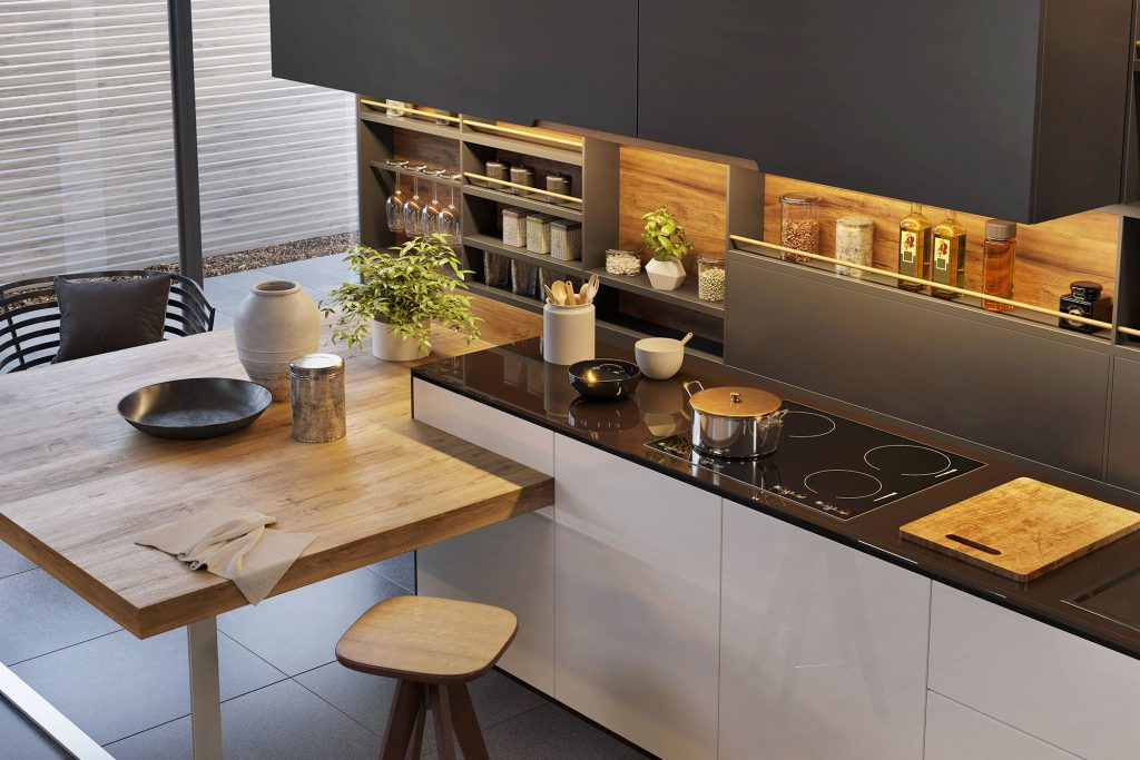 German kitchen with electric hob and wooden table