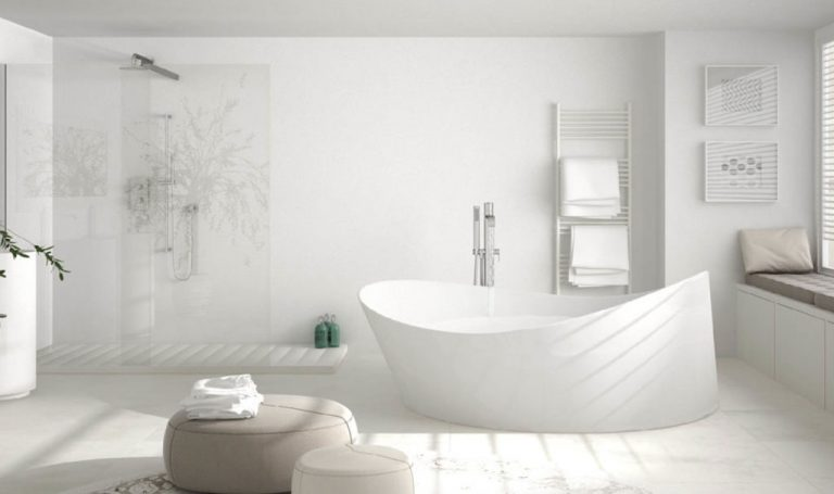 Modern bathroom all white with bath tub
