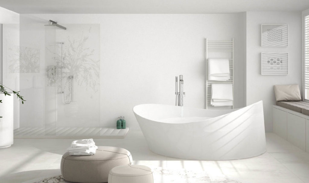 Modern bathroom all white with standing bath tub